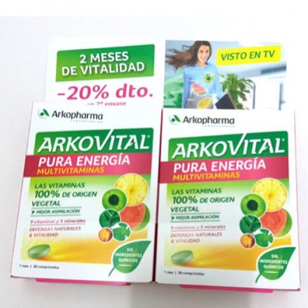 ARKOVITAL PURA ENERGIA MULTIVITAMINICO 2X30 COMPRIMIDOS PROMO